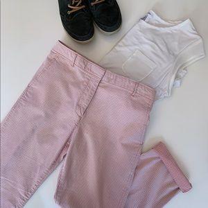 GAP Mini Skinny Khakis White Pink Pinstripes 12